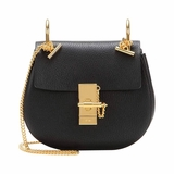 Chloe Leather Medium Drew Shoulder Bag - Black
