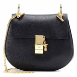 Chloe Leather Small Drew Shoulder Bag - Black