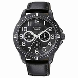 Citizen Men AG8315-04E Quartz Sports Day-Date Black Dial Watch - Black