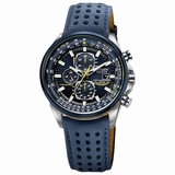 Citizen Men AT8020-03L World Chronograph Perforated Leather Strap Watch - Blue