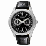 Citizen Men Quartz Leather AG0160-02E Strap Black Dial Watch - Black