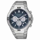 Citizen Men Quartz Sports Blue Dial Chronograph Stainless Steel Watch - Silver