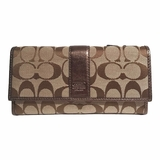 Coach Canvas and Leather Trifold Wallet - Brown