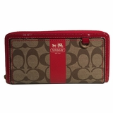 Coach CC Canvas Leather Zip Around Wallet - Red