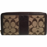 Coach CC Canvas Leather Zip Around Wallet - Tan/Brown