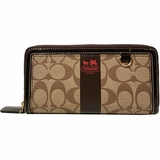 Coach Ziparound Canvas and Leather Wallet - Brown