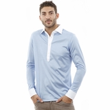 Corneliani Blue White Trim Cotton Long Sleeve Polo Shirt