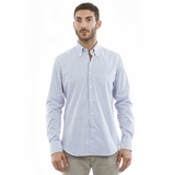 Corneliani CC White Cotton Shirt- Blue Stripe