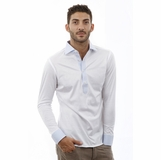 Corneliani Polo Long Sleeve Blue Collar Cotton Shirt - White