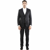 Corneliani Shiny Stripe 3-Piece Suit - Black