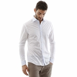 Corneliani Stripe Collar Shirt - White Blue