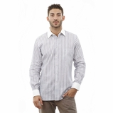 Corneliani White Stripe Linen Cotton Shirt - White Blue