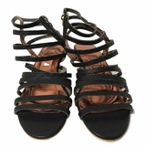 Cynthia Vincent Heeled Leather Gladiator Sandals - Black