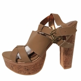 Cynthia Vincent Leather Cork Sandals Wedges NIB - Tan