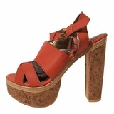Cynthia Vincent Leather Gladiator Wedges Sandals - Orange