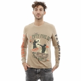 Diesel Long Sleeve Cotton Light Beige Green Orange  T-Shirt