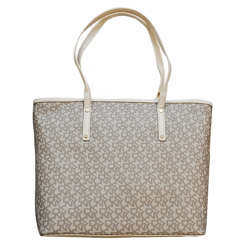 Authentic Dkny Logo Canvas Tote Beige At Modaqueen Com