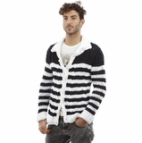 Dolce and Gabbana Cardigan Black White Stripe Cotton Sweater