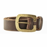 Dolce & Gabbana Gold Buckle Leather Belt - Brown