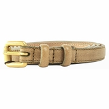 Dolce & Gabbana Skinny Gold Buckle Leather Belt - Tan
