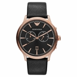 Emporio Armani AR1792 Classic Leather Two Tone Men Watch - Black