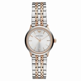 Emporio Armani AR1827 Classic Two Tone Ladies Rose Gold Watch - Silver