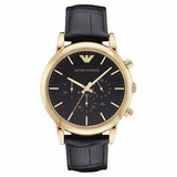Emporio Armani Classic Leather Men Watch Luigi - Black