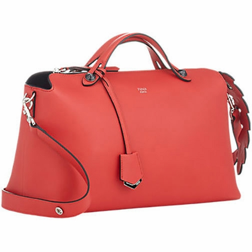 Authentic Fendi By The Way Croc Tail Convertible Leather Shoulder Bag Red At Modaqueen