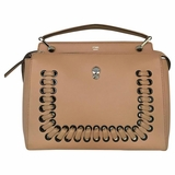 Fendi Leather Dotcom Woven Satchel - Tan