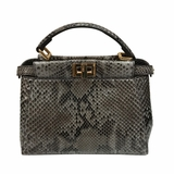 Fendi Mini Python Peekaboo Crossbody Bag - Cream/Gray