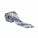 Fendi Silk Plaid Tie - Blue Grey