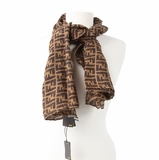 Fendi Zucca Cashmere and Silk Scarf - Brown