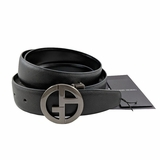 Giorgio Armani Saffiano Leather Logo Belt - Black Smoke