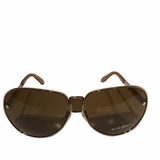 Givenchy Silver Aviator Sunglasses - Brown