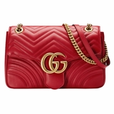 Gucci DRW3T Marmont Matelasse Shoulder Bag - Red