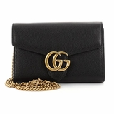 Gucci GG Marmont Chain Mini Wallet Leather - Black