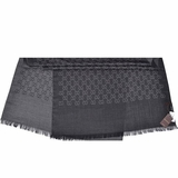 Gucci GG Monogram Wool and Silk Anthracite Shawl - Grey