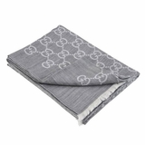 Gucci GG Monogram Wool and Silk Shawl - Light Gray