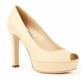 Gucci Work Platform Pumps Peeptoe Heel Women's Leather Shoes - Beige