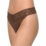 Hanky Panky Lace Original Rise Thong - Brown