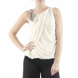 Hannah Jo Silk Blouse Top - Ivory
