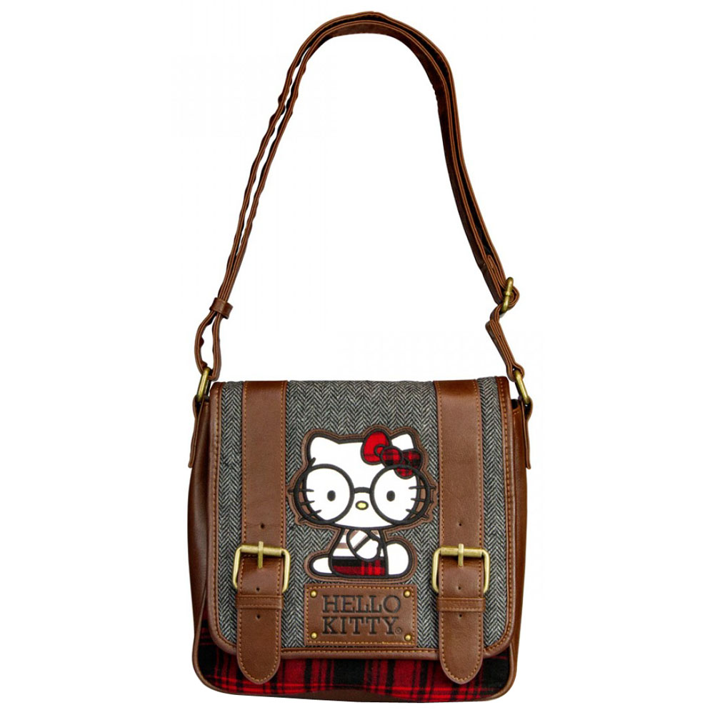 3d4145274713 Hello Kitty Nerd With Round Glasses Crossbody Messenger Bag - Brown