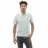 Heritage Green Gray Stripe White Collar Cotton Polo Shirt