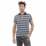 Heritage Navy Blue Light Blue Stripes Cotton Polo Shirt