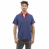 Heritage Navy Blue Red Collar Trim Cotton Polo Shirt