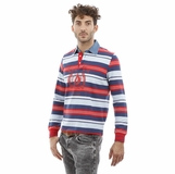 Heritage Red White Blue Stripes Denim Collar Cotton Polo Shirt