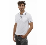 Heritage White Navy Blue Trim Cotton Polo Shirt