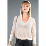 LA Collection Batwing Crochet Hoodie T-shirts - Cream