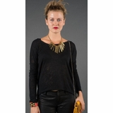 LA Collection Button High-Low Cardigan T-shirts - Black