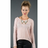 LA Collection Button High-Low Cardigan T-shirts - Pink